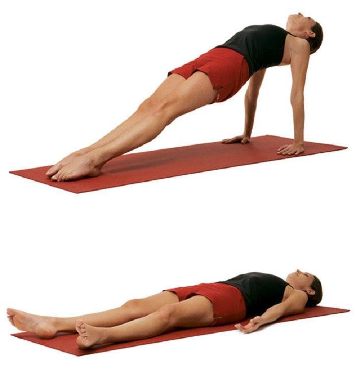 תרגילי יוגה להעלאת אנרגיה: תנוחת הרמת הגב מעל המזרן, בעזרת הידיים