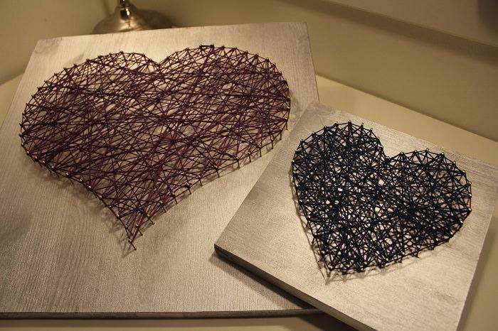 """עיצובי מתנות מיוחדים: """"ציור"""" לב מחוטים"""