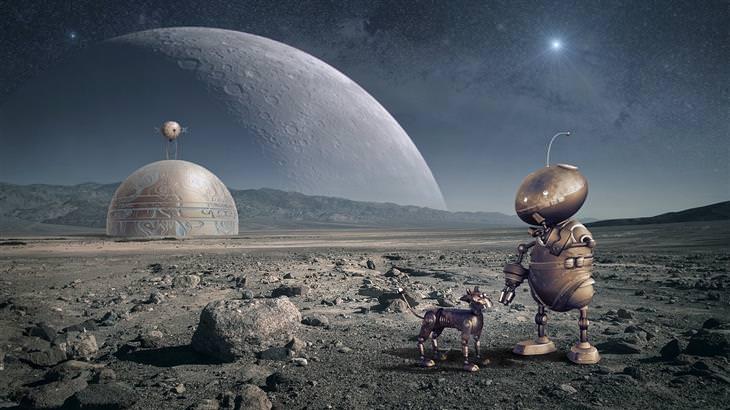 אירועים חינמיים בליל המדענים 2017: רובוט וכלב רובוטי עומדים על כוכב אחר