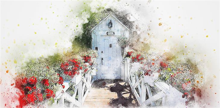 מדריך להתמודדות עם פחדים נפוצים של ילדים בכל גיל: ציור של שביל עם פרחים בצדדים שמוביל לדלת