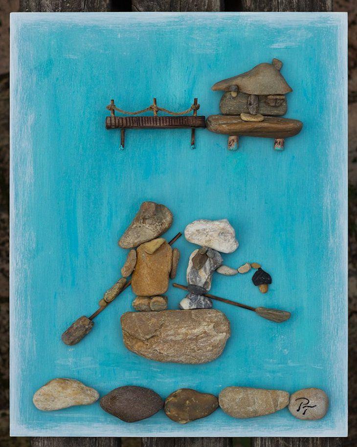 יצירות אומנות מאבנים: זוג שט בנהר