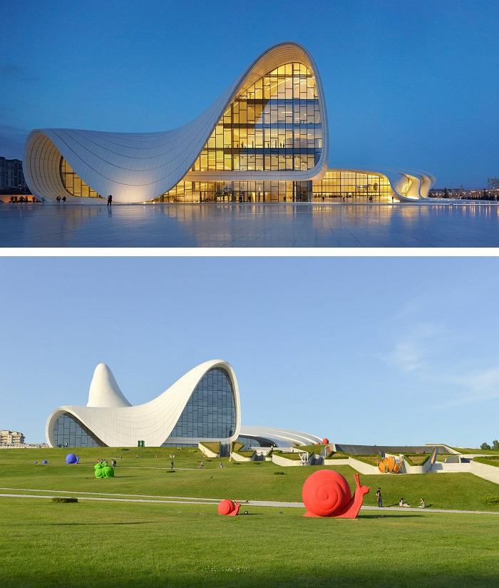 פלאי אדריכלות מודרניים - Heydar Aliyev Center - באקו, אזרבייג'ן