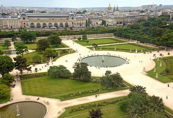 אתרי חובה בפריז: גני טווילרי בצילום עילי