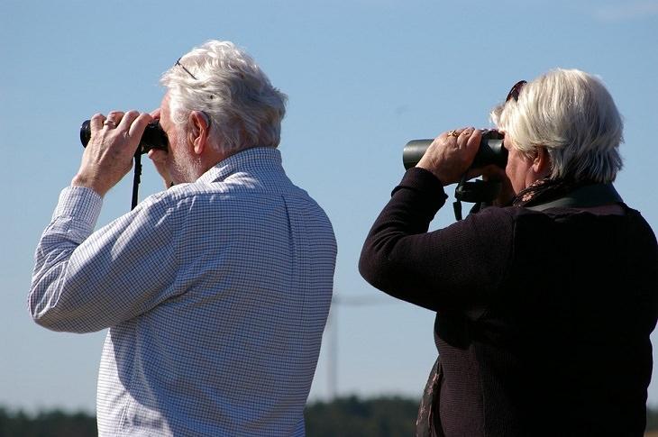 """עצות זוגיות של ד""""ר פיל: גבר ואישה מבוגרים מביטים דרך משקפות לאופק"""