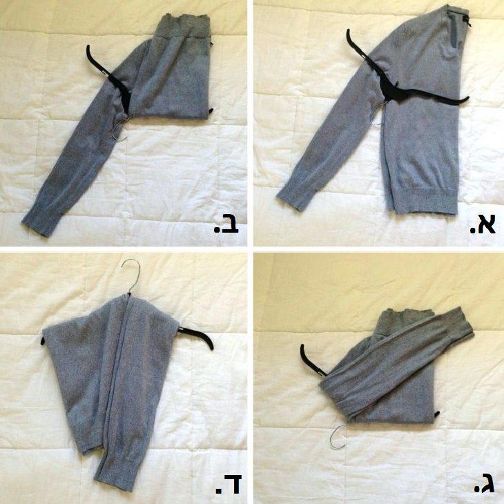 טיפים לכביסה ושמירה על בגדים: הסבר בתמונות - הדרך הנכונה לתליית סוודר