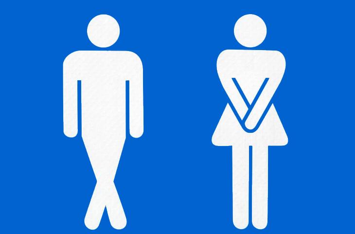 הבדלים בין גברים ונשים: איורים של גבר ואישה מתאפקים לשירותים