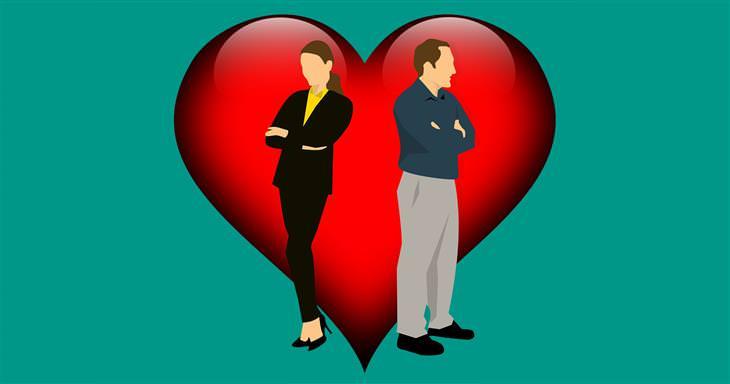 איך להתמודד עם בני זוג רגישים יתר על המידה: איור של איש ואישה עם גבם אחד לשני על רקע לב