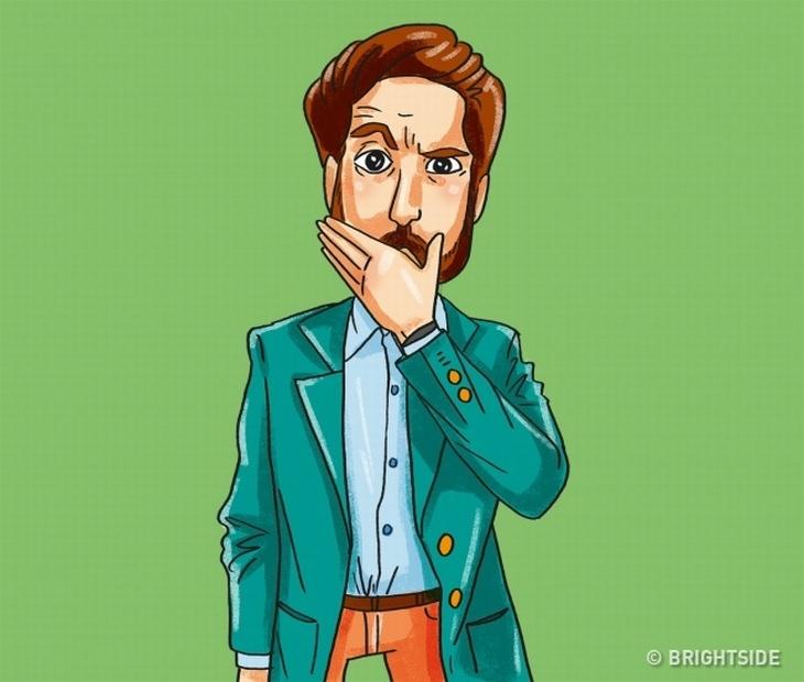 טריקים פסיכולוגיים לקריאת שפת גוף: איור של איש שמכסה את פיו עם ידו