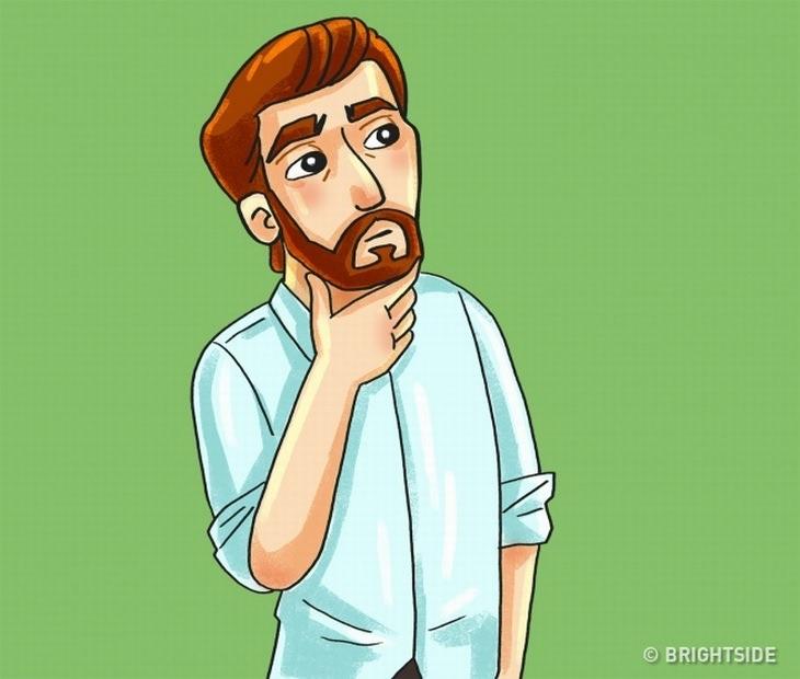 טריקים פסיכולוגיים לקריאת שפת גוף: איור של גבר משפשף את הסנטר עם האצבע