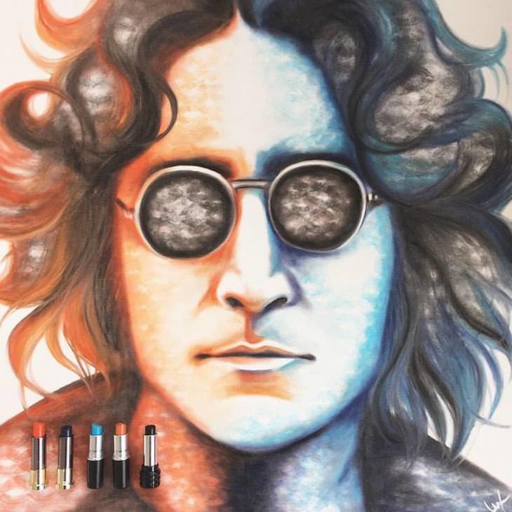 אומנות עם שפתון-ליפסטיק: דיוקן של ג'ון לנון