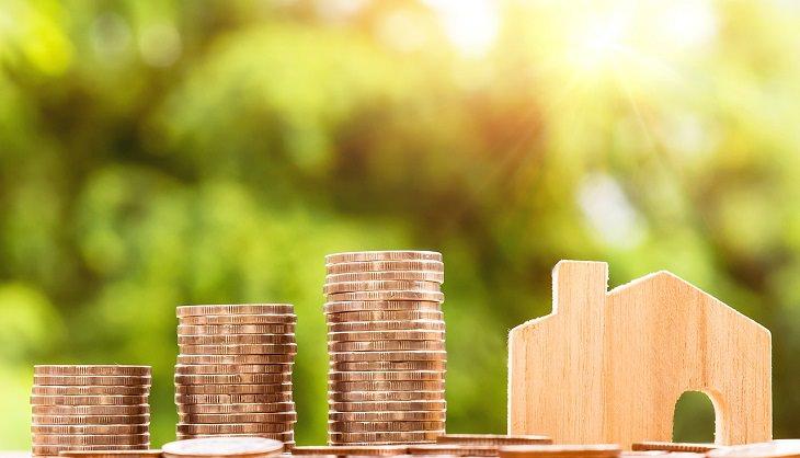 דברים שאתם צריכים לדעת על כסף מגיל צעיר: דגם של בית מעץ ולצידו מטבעות כסף