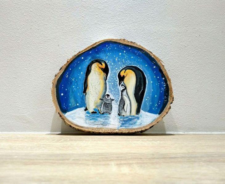 יצירות על פרוסות עץ של פטריציה פרושינסקיה: פינגווינים