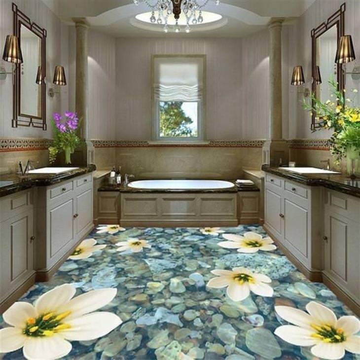 רצפה אומנותית: פרחי מים