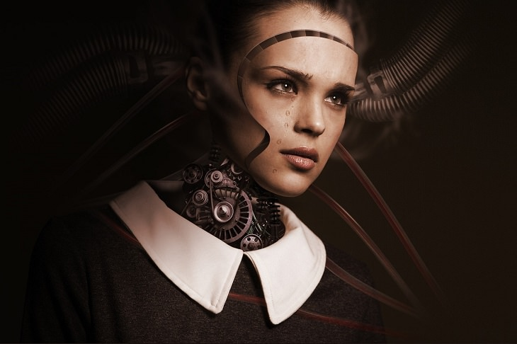 מהי בינה מלאכותית: איור של מכונה שמשתילים לה פני אישה