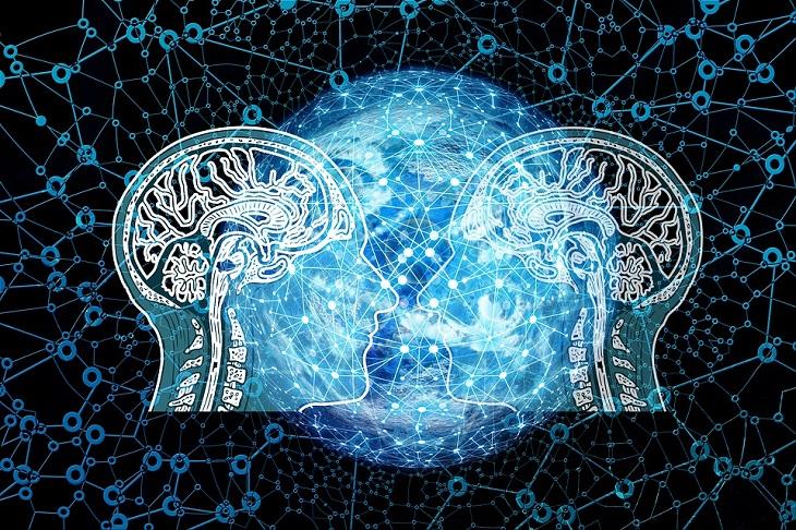 10 מיתוסים על המוח האנושי שהתבררו כלא נכונים: שני ראשים אחד מול השני עם ציור של מוח אצל שניהם