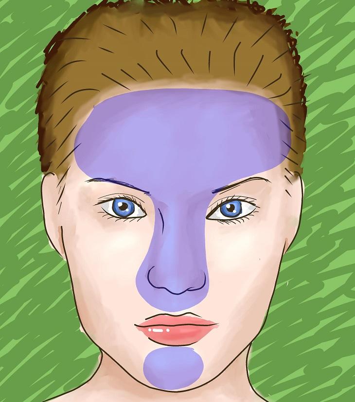 כיצד לזהות ולהתמודד עם עור משולב: פרצוף מצויר של אישה ועליו מסומן בצבע סגול אזור ה-T