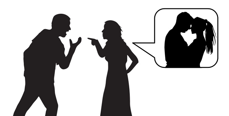 ציפיות מחיי נישואים: איור צלליות של גבר ואישה רבים על בגידה