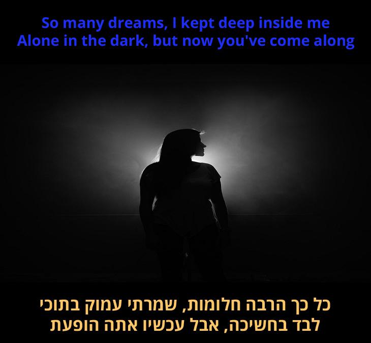 """מצגת שיר """"הארת את חיי"""": """"כל כך הרבה חלומות, שמרתי בתוכי, לבד בחושך, אבל עכשיו הגעת"""""""