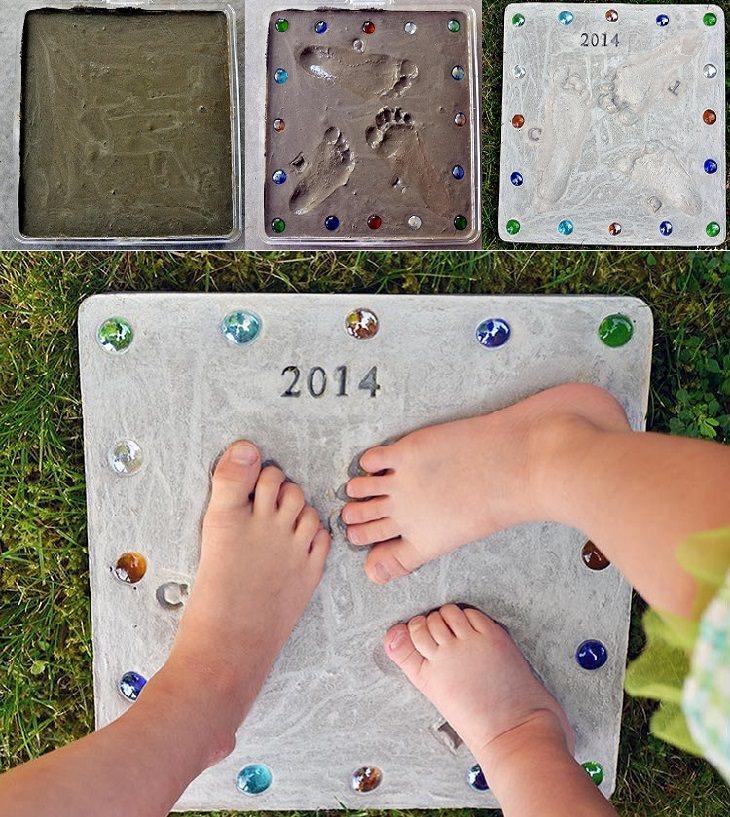 יצירות ליום המשפחה: יצירת טביעת כפות רגליים בבטון
