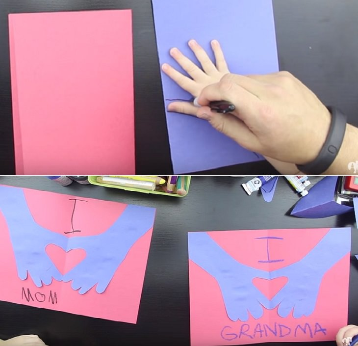 יצירות ליום המשפחה: כרטיס ברכה עם טביעות כפות ידיים וצורת לב