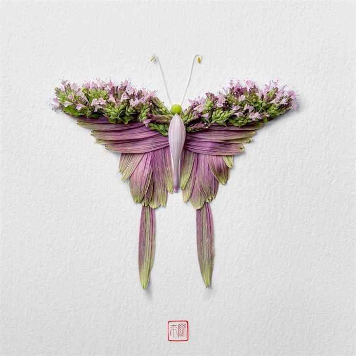 אמן ששוזר דמויות חרקים מפרחים ססגוניים