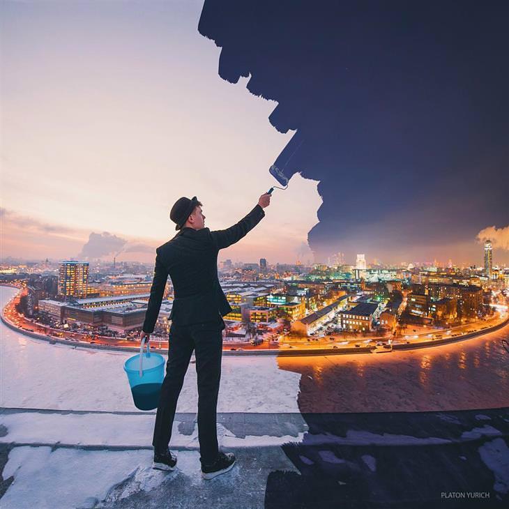 יצירותיו של האמן פלטון יוריך: אדם עובר על העולם עם מברשת צבע