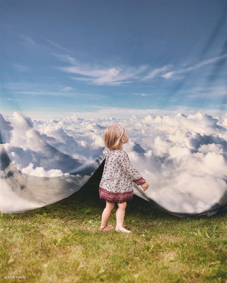 יצירותיו של האמן פלטון יוריך: ילדה אוחזת בשמיים ומרימה אותם כשמיכה
