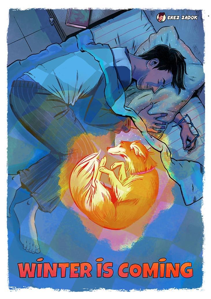 איורים משעשעים של ארז צדוק: ג'ויה וארז ישנים יחדיו במיטה