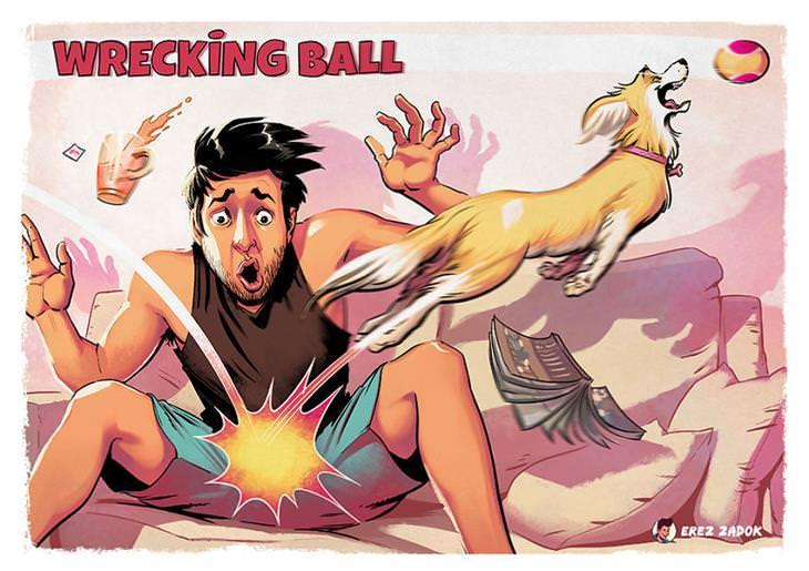 איורים משעשעים של ארז צדוק: ג'ויה קופצת אחרי כדור, ומדלגת על אזור החלציים של ארז