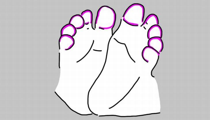 נקודות לחיצה בכפות רגלי תינוקות: איור של רגלי תינוק עם סימון על אזור האצבעות