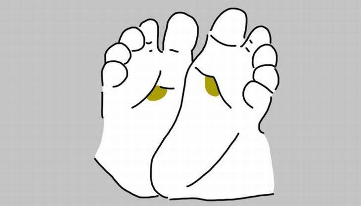 נקודות לחיצה בכפות רגלי תינוקות: איור של רגלי תינוק עם סימון על אזור הנקודה העליונה במרכז כף הרגל