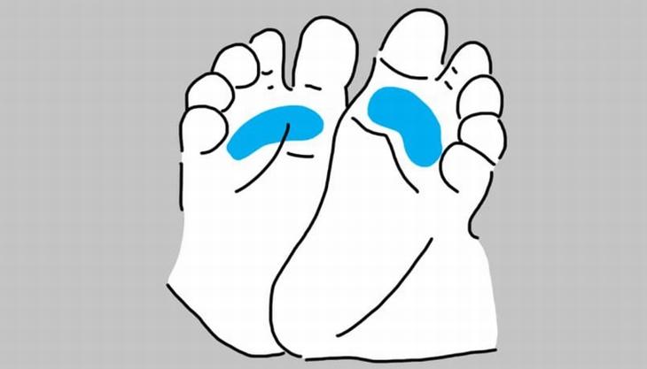 נקודות לחיצה בכפות רגלי תינוקות: איור של רגלי תינוק עם סימון על האזור שתחת האצבעות