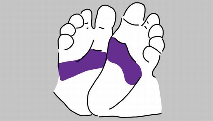 נקודות לחיצה בכפות רגלי תינוקות: איור של רגלי תינוק עם סימון על אזור מרכז כף הרגל