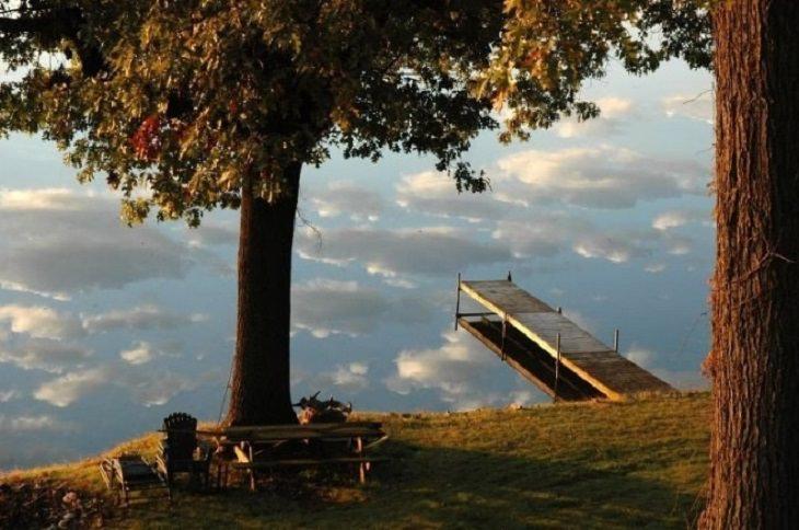 תמונות מתעתעות: פארק ירוק ומזח