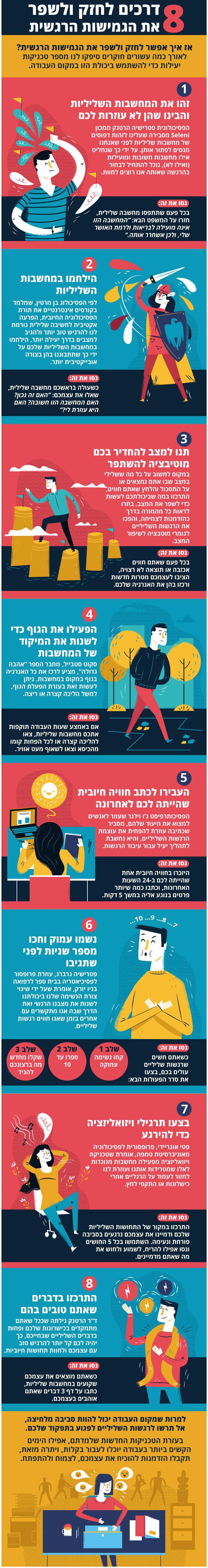 איך להתמודד עם מחשבות ורגשות שליליים בעבודה
