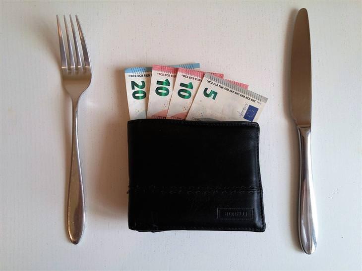 טריקים לחישובים מתמטיים: ארנק עם כסף על שולחן ולצדו סכין ומזלג