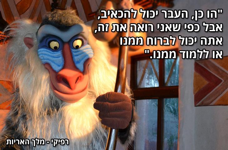 """עצות חכמות לחיים מסרטי ילדים:""""הו כן, העבר יכול להכאיב, אבל כפי שאני רואה את זה, אתה יכול לברוח ממנו או ללמוד ממנו."""" רפיקי – מלך האריות"""