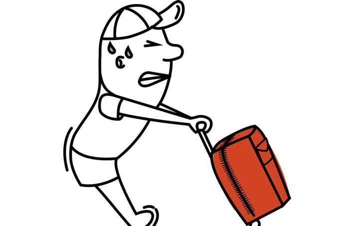 איזה רושם ראשוני אתה יוצר: איור של איש סוחב מזוודה כבדה