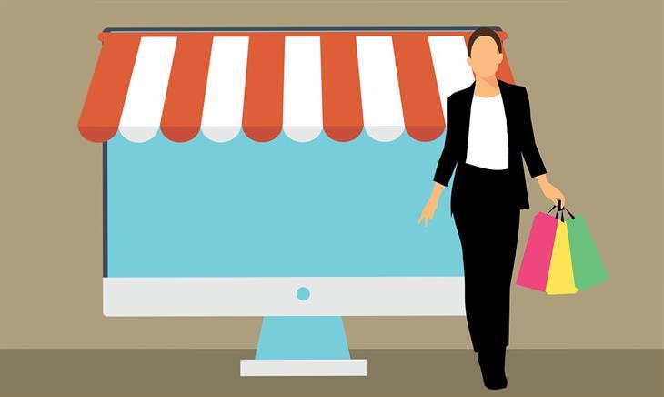 מדריך לשימוש בפייפאל: איור של מסך מחשב שנראה כמו חנות, ולידו עומדת אישה עם שקיות