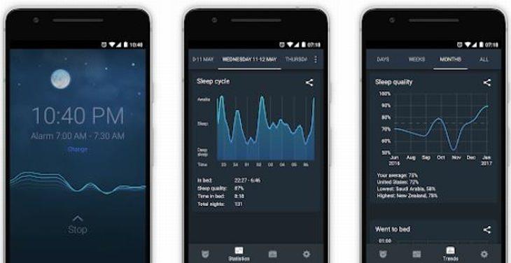 אפליקציות שעון מעורר: צילומי מסך של אפליקציית Sleep Cycle
