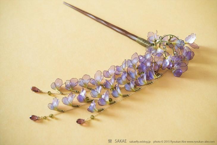 סיכות לקישוט השיער של האומנית היפנית סאקה