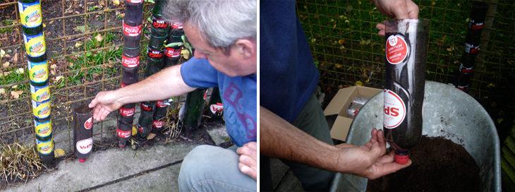 מדריכים להכנת גינות אנכיות: הכנת מגדל בקבוקים