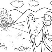 דפי צביעה עם סיפורי התנך: משה והסנה הבוער