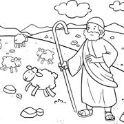 דפי צביעה עם סיפורי התנך: משה רועה צאן