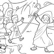 דפי צביעה עם סיפורי התנך: בני ישראל חוצים את ים סוף