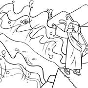 דפי צביעה עם סיפורי התנך: קריעת ים סוף