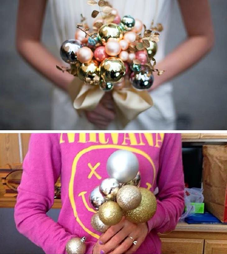 מוצרים מצחיקים שאנשים קיבלו לאחר הזמנה באינטרנט: זר כדורים לכלה שנראה שונה מהתמונה המקורית