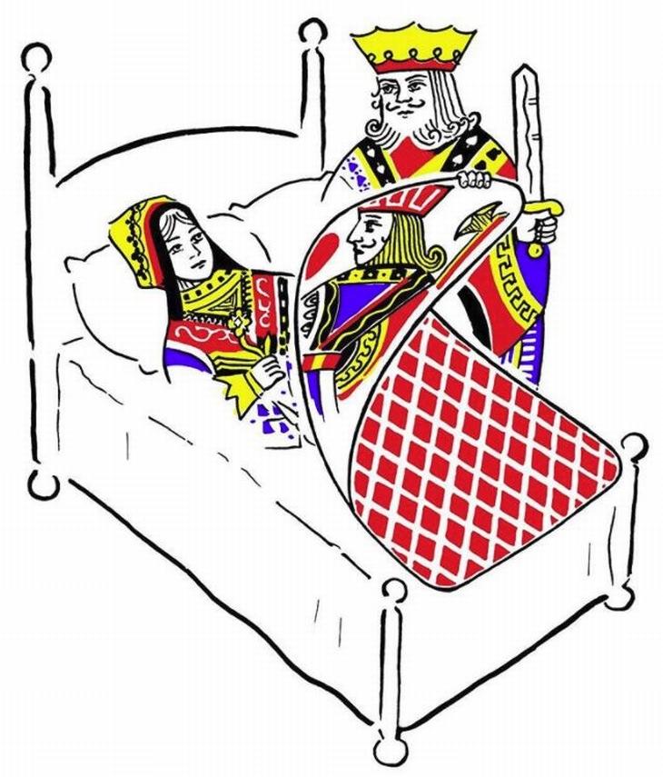 ציורים מינימליסטיים מקסימים: מלך מסיר ממלכה שמיכה ונחשף שמדובר בקלף עם נסיך