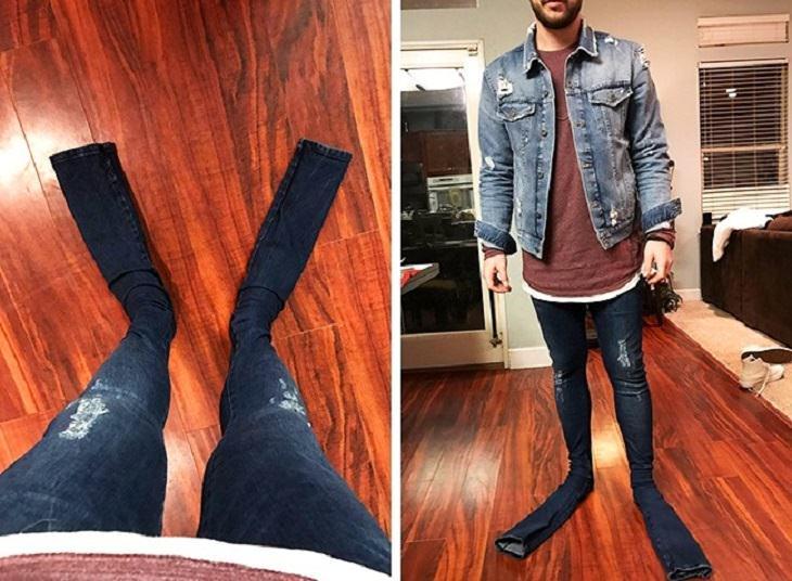 מוצרים מצחיקים שאנשים קיבלו לאחר הזמנה באינטרנט: ג'ינס ארוך מדי