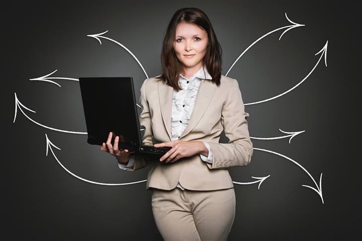 ארבעת סוגי הבוסים: אישה בחליפה עם מחשב נייד, ומאחוריה מצויירים חצים